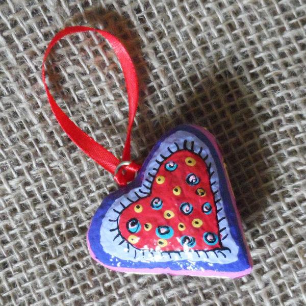 1-papier-mache-heart-hand-painted-Swaziland-for-sale-bazaar-africa