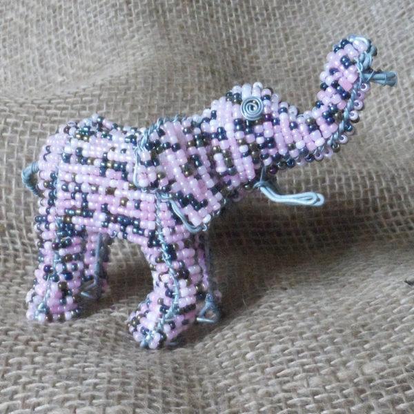 Beaded pink elephant