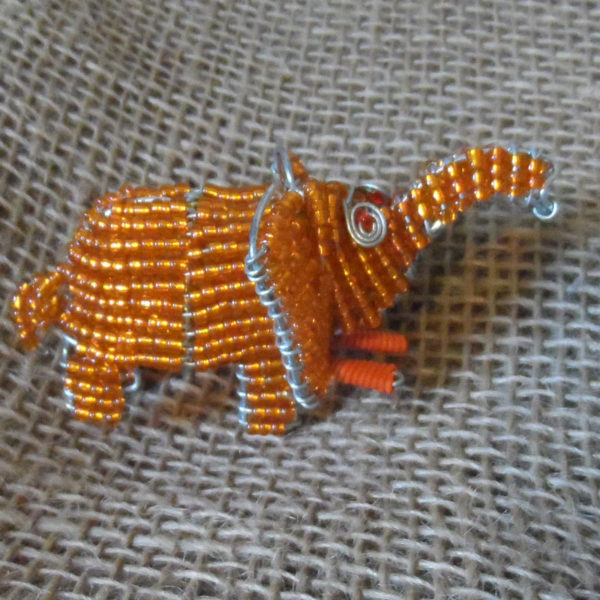 Beaded-mini-orange-elephant