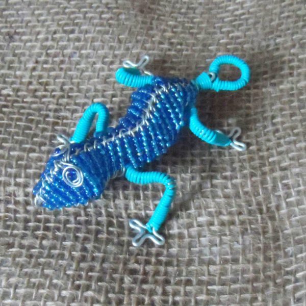 Small beaded gecko in turquoise