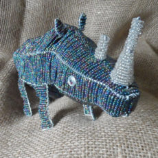 Large beaded rhino ornament