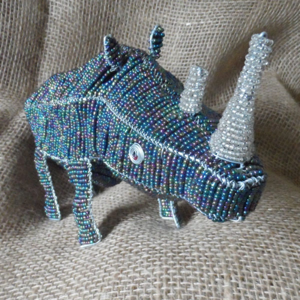 Large beaded rhino ornament
