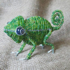 Beaded chameleon with large marble eyes