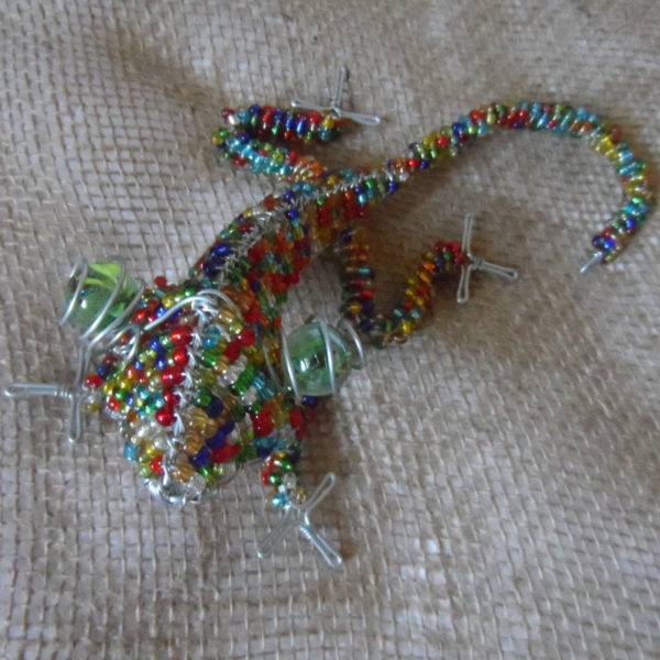 Handmade beaded gecko with large eyes