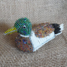 Mallard duck crafted in seed beads