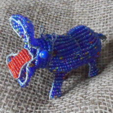 Open mouthed beaded hippo