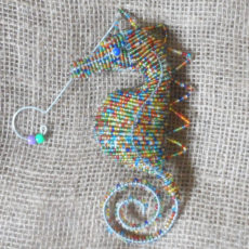 Hanging beaded seahorse in multicolours