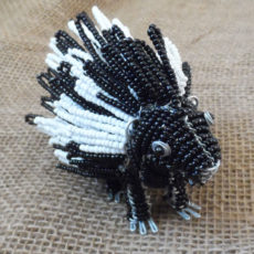 Porcupine crafted from seed beads