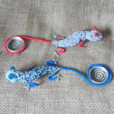 Beaded gecko candle holders