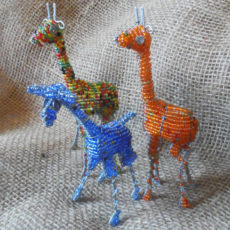 Small beaded giraffes crafted in S. Africa