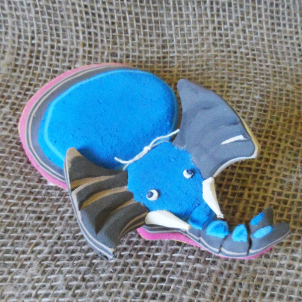 Elephant door stop crafted from recycled flip flops