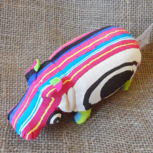 Hippo hand crafted in recycled flip flops