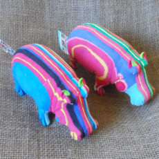 Bright hippos crafted from recycled flip flops in Kenya
