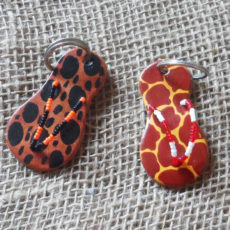 Leather-flip-flop-animal-print-keyring-for-sale-bazaar-africa