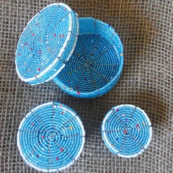 Beaded trinket boxes handmade in Kenya