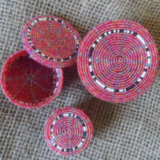Beaded trinket boxes handmade in Kenya