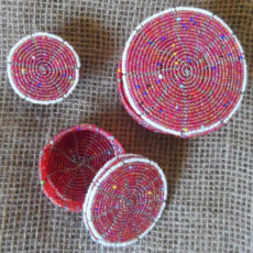 Pink bead boxes crafted in Kenya
