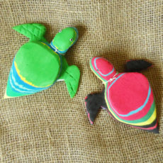 Turtle door stop crafted from recycled flip flops