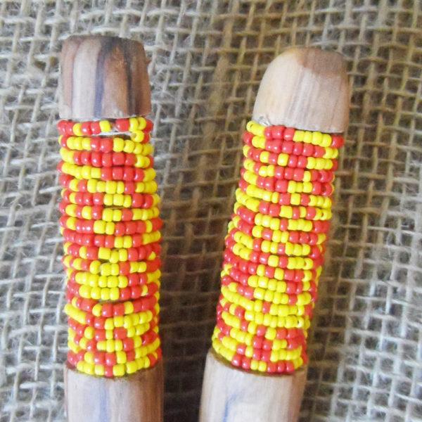 Beaded wooden salad spoons from Kenya