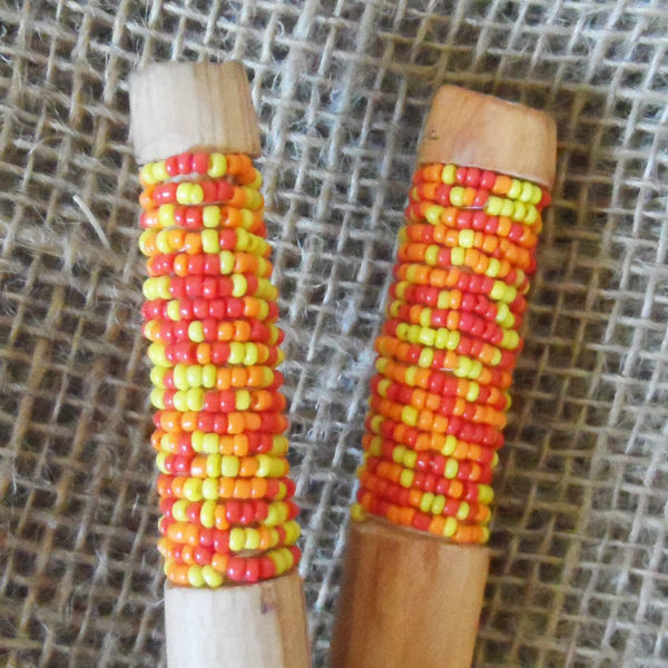 Bead decorated wooden salad spoons