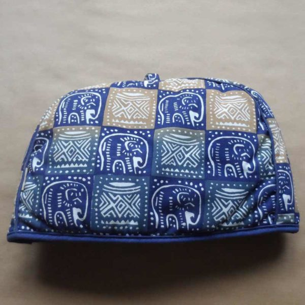 TCKbe-Screen-printed-teacosy-brown-100-cotton-blue-elephants-handmade-in-Zimbabwe