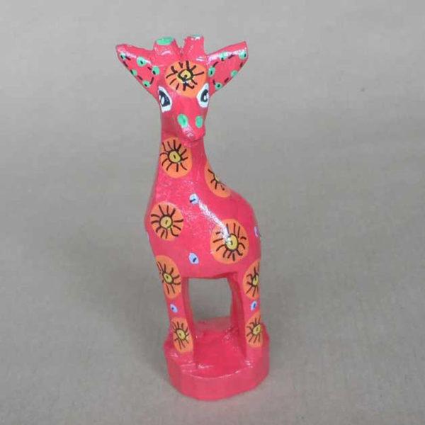 Red painted giraffe from eSwatini