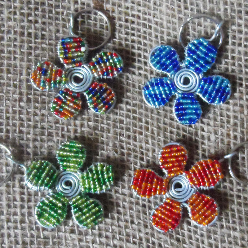 Handmade Beaded African Craft Wire Keyrings 3D Spider
