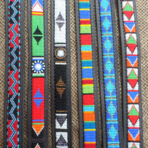 "18"" - 22"" Maasai leather beaded dog collars with tag"