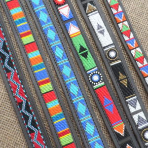 "21"" - 25"" Maasai leather beaded dog collars with tag"