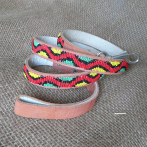 Dog lead - snake pattern, red