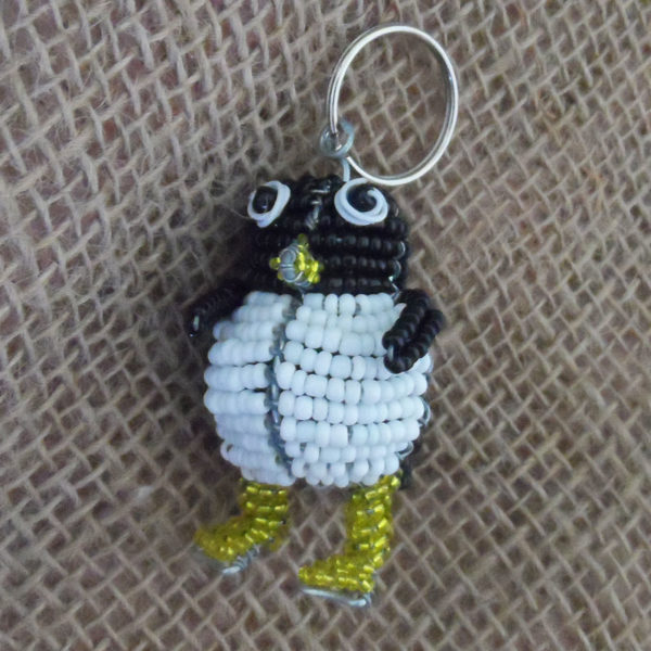 KYSp-3D-keyring-beaded-penguin-wire-South-African-for-sale-bazaar-africa
