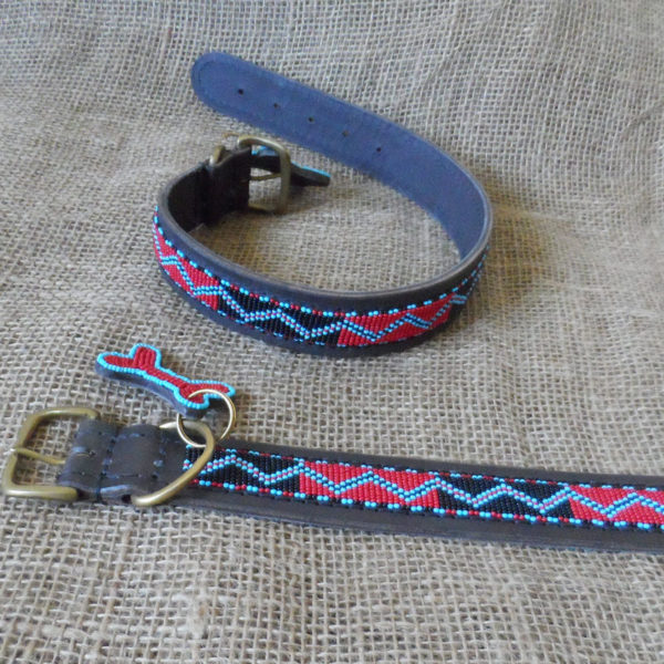 Maasai-1 ½-beaded-dog-collars-zig-zag-on-leather-handmade-in-Kenya