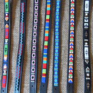"15"" - 19"" Narrow Maasai leather beaded dog collars with tag"