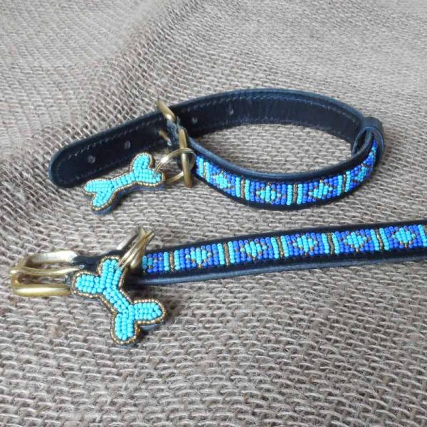 Maasai-¾-beaded-dog-collars-blue-diamonds-on-leather-handmade-in-Kenya