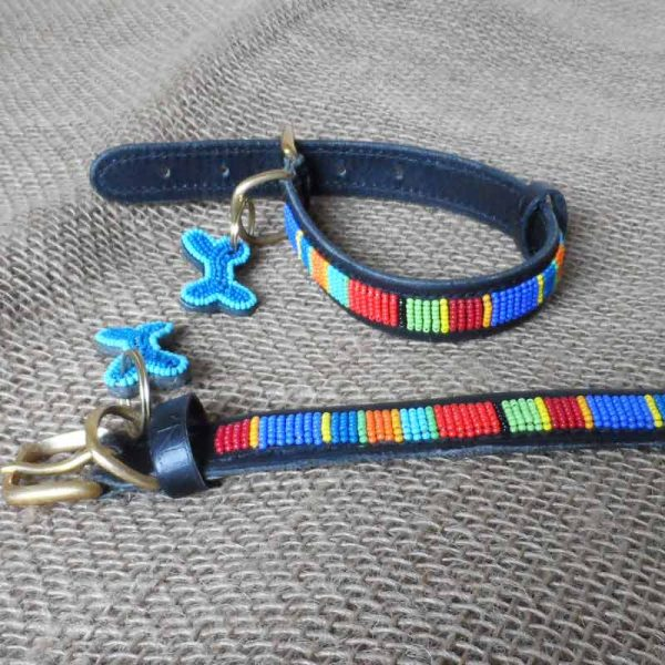 Maasai-¾-beaded-dog-collars-bold-stripes-on-leather-handmade-in-Kenya