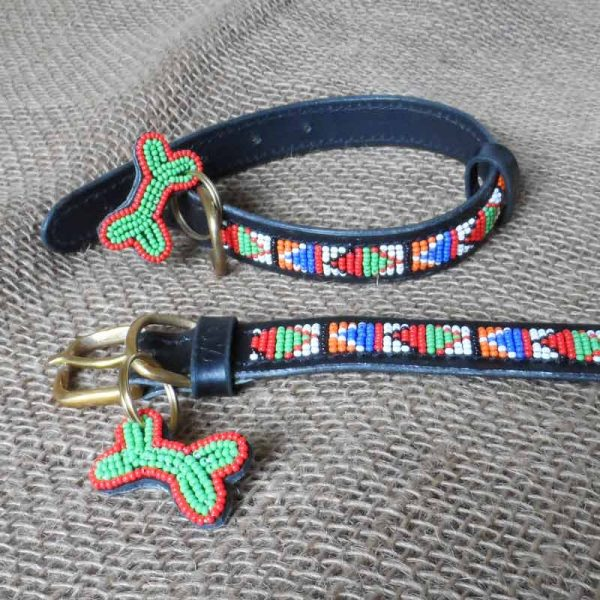 Maasai-¾-beaded-dog-collars-bright-triangles-on-leather-handmade-in-Kenya