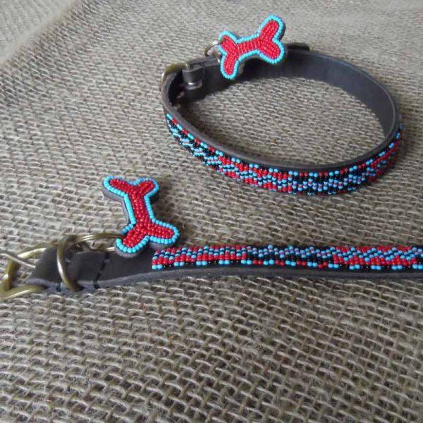 Maasai-¾-beaded-dog-collars-zig-zag-on-brown-leather-handmade-in-Kenya