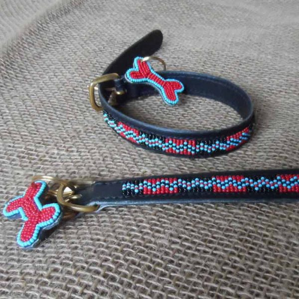 Maasai-¾-beaded-dog-collars-zig-zag-on-leather-handmade-in-Kenya