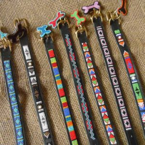"12"" - 16"" Maasai leather beaded dog collars with tag"