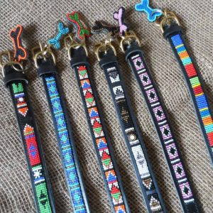 "10"" - 13"" Maasai leather beaded dog collars with tag"